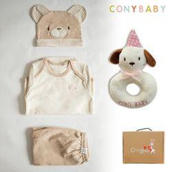 [무료배송/선물박스증정] [CONY]오가닉곰돌이4종선물세트(의류3종+강아지딸랑이
