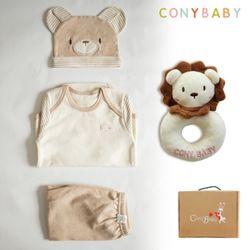 [무료배송/선물박스증정] [CONY]오가닉곰돌이4종선물세트(의류3종+사자딸랑이)