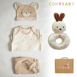 [무료배송/선물박스증정] [CONY]오가닉곰돌이4종선물세트(의류3종+토끼딸랑이)