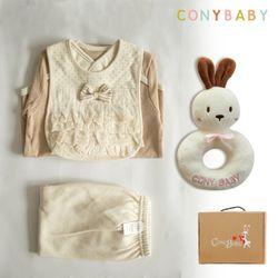 [무료배송/선물박스증정] [CONY]오가닉어린왕자4종선물세트(의류3종+토끼딸랑이