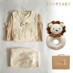[무료배송/선물박스증정] [CONY]오가닉백설공주4종선물세트(의류3종+사자딸랑이
