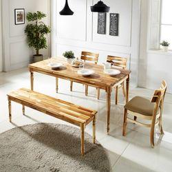 원목식탁 6인용식탁세트 벤치형+의자3개 로하스베이직