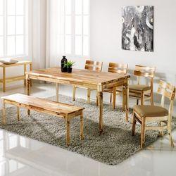 원목식탁 6인용식탁세트 벤치형+의자4개 로하스베이직