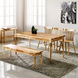 원목식탁 6인용식탁세트 벤치형+의자3개 로하스윈져