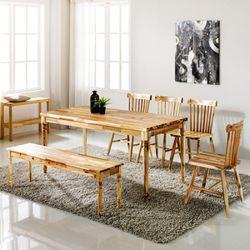원목식탁 6인용식탁세트 벤치형+의자4개 로하스윈져