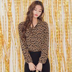 [로코식스] top leopard BL블라우스