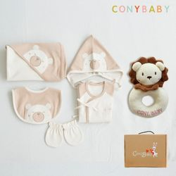 [무료배송/선물박스증정] [CONY]오가닉곰돌이출산6종세트(의류5종+사자딸랑이)