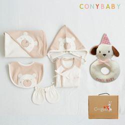 [무료배송/선물박스증정] [CONY]오가닉곰돌이출산6종세트(의류5종+토끼딸랑이)
