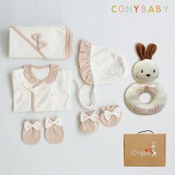 [무료배송/선물박스증정] [CONY]오가닉여아출산6종세트(의류5종+토끼딸랑이)