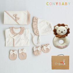 [무료배송/선물박스증정] [CONY]오가닉여아출산6종세트(의류5종+사자딸랑이)