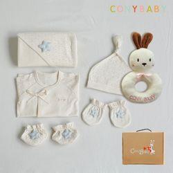 [무료배송/선물박스증정] [CONY]오가닉베이비6종선물세트(남아5종+토끼딸랑이)