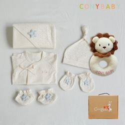 [무료배송/선물박스증정] [CONY]오가닉베이비6종선물세트(남아5종+사자딸랑이)