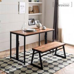 루카스 멀바우원목 1200 스틸 테이블+벤치세트(국내제