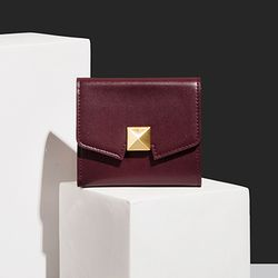Cube Box Wallet - Burgundy