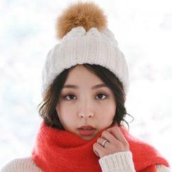 스노우 니트 방울 털 모자