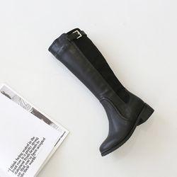 [천연소가죽] 콤비 버클 롱부츠 5cm