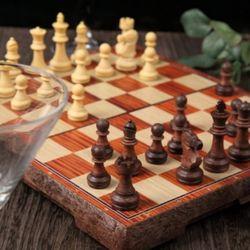 휴대용 접이식 고급 원목 자석 체스판 M