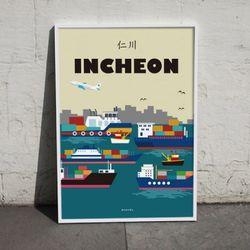유니크 인테리어 디자인 포스터 M 인천 A3(중형)