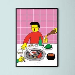 유니크 인테리어 디자인 포스터 M 삼겹살 A3(중형)