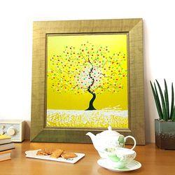 돈나무액자 유화그림 복을부르는그림 해피트리 노란색