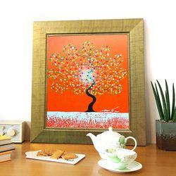 돈나무액자 유화그림 복을부르는그림 해피트리 붉은색