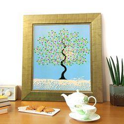 돈나무액자 유화그림 복을부르는그림 해피트리 푸른색