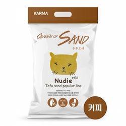 퀸오브샌드 두부 모래 누디(커피) 3kg(6개)