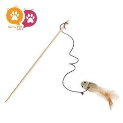 나야펫 우드 쥐돌이 낚시대-고양이 장난감