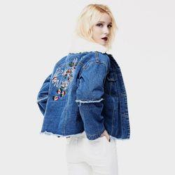Wool Embroiadery Denim Jacket