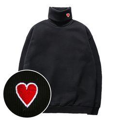 슈퍼레이티브 - HEART 기모 목폴라 맨투맨 - 6컬러