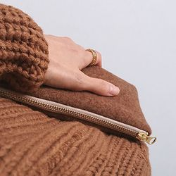 brown felt touch pouch (medium)