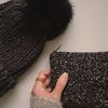 fluffy black and brown pouch (medium)