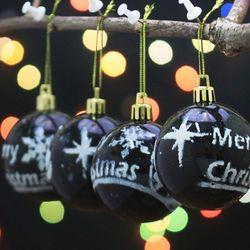 4P 크리스마스 블랙 유광볼 6cm   XTS2121