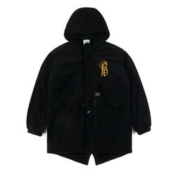STIGMA VATOS OVERSIZED FLEECE VELBOA COAT BLACK