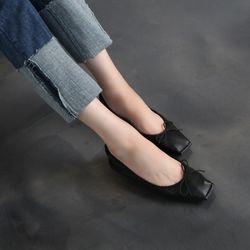 [쿠루] 여성 1cm 스티치 리본 플랫슈즈 G6259