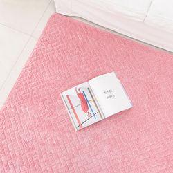 헤링본 퀼팅 핑크 극세사 러그 - 200x230cm