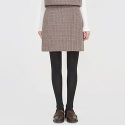 lovey hound tooth check wool skirt