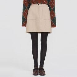 slim line wool pocket skirt