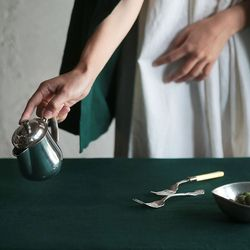 [Fabric] 백마포 그린 - 퓨어린넨 캔버스 백마포