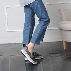 [쿠루] 여성 4cm 스터드 테슬 키높이 슬립온 G6236