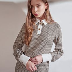 TWO BUTTON CHECK ONEPIECE