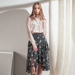RUFFLE POINT PRINTED MIDI SKIRT