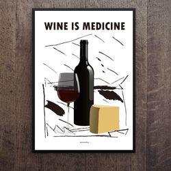 유니크 인테리어 디자인 포스터 M 와인2 A3(중형)