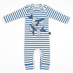 Blue Stripe Whale Jumpsuit