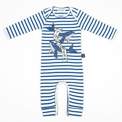 Blue Stripe Whale Jumpsuit