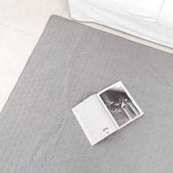 헥사 퀼팅 연그레이 면러그 -200x230cm