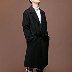 [매트블랙] 캐시미어 스냅 트렌치 코트