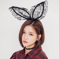 [로코식스] bunny lace hairband헤어밴드