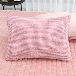 와플 극세사 핑크 베개커버