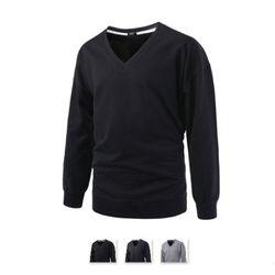 남성 브이넥 루즈핏 트임 긴팔 티셔츠 RDLT66